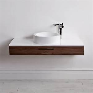 Lusso Stone Edge Slim Drawer Wall Mounted Bathroom Vanity