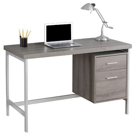 computer desk with drawers computer desk with drawers silver metal taupe