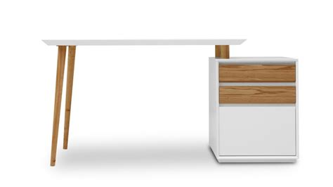 bureau bois et blanc bureau blanc mat svartan avec caisson 3 tiroirs mobilier