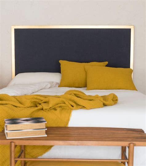 gold metal  linen headboard recamara pinterest