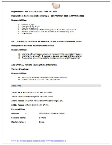 Mba Marketing Resume by 10000 Cv And Resume Sles With Free Mba Marketing Resume Sle