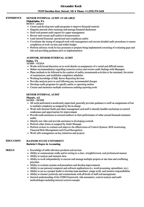 certified auditor sle resume sle cover
