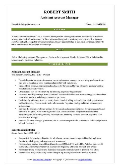Account Manager Resume by Assistant Account Manager Resume Sles Qwikresume