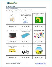 grade  time worksheet    pm  images time