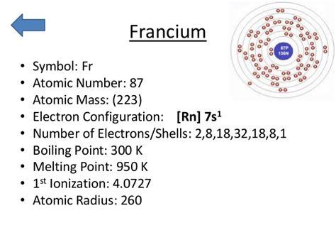 periodic francium trends atomic electron number mass 87 radius symbol