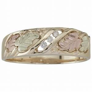 Men39s Coleman Black Hills Gold 10K Diamond Wedding Band