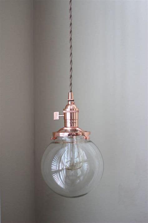 globe pendant light copper mid century modern