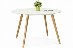 Table à Manger Blanche : table manger ronde blanche pieds bois camsou table manger pas cher ~ Teatrodelosmanantiales.com Idées de Décoration