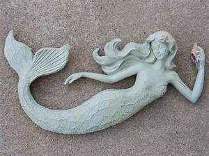 mermaid w flowing hair wall art plaque beach cottage decor With mermaid wall decor