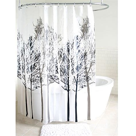 shower curtain grey forest peva shower curtain in grey bed bath beyond