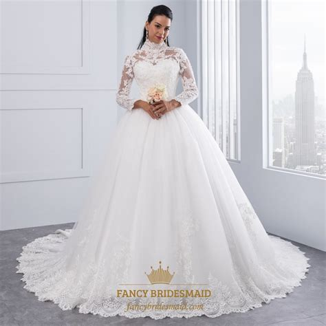high neck long sleeve lace embellished   ball gown