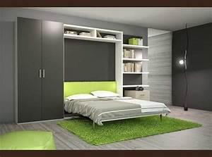 Lit Dans Armoire : armoire avec lit escamotable tabouret de bar literie ~ Premium-room.com Idées de Décoration