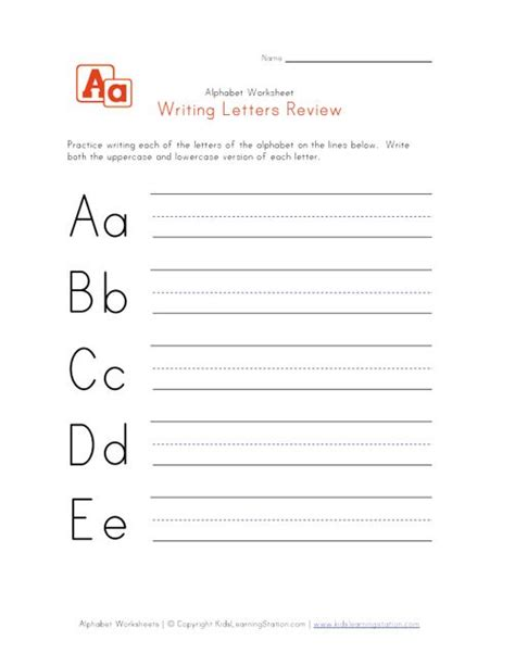 writing letters review worksheets  images alphabet
