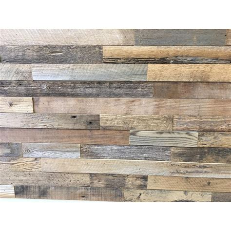 home depot reclaimed wood reclaimed barnwood brown natural 3 8 in thick x 2 in w x varying length solid hardwood wall