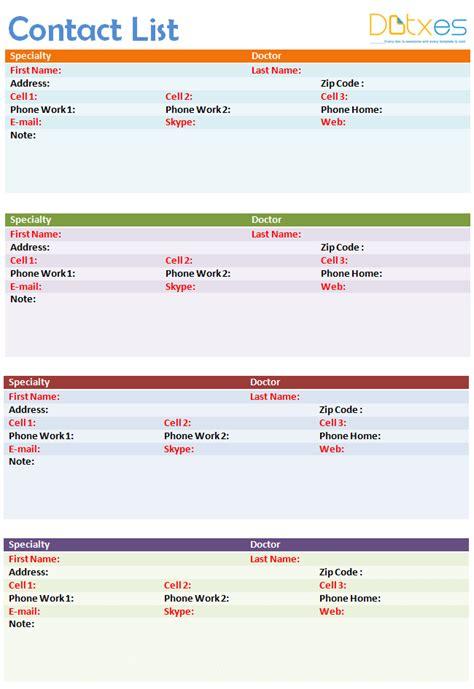 phone list template contact list template 4 per page dotxes