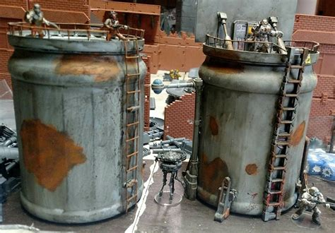 By tom alegar in craft reuse. made of Folgers plastic coffee cans | Modern game tables, Coffee can crafts, Miniature wargaming
