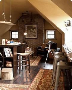 10 Cool Attic Home Office Interior Design Ideas - https