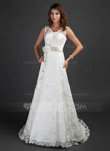 a line princess v neck court train lace wedding dress with With court wedding dress
