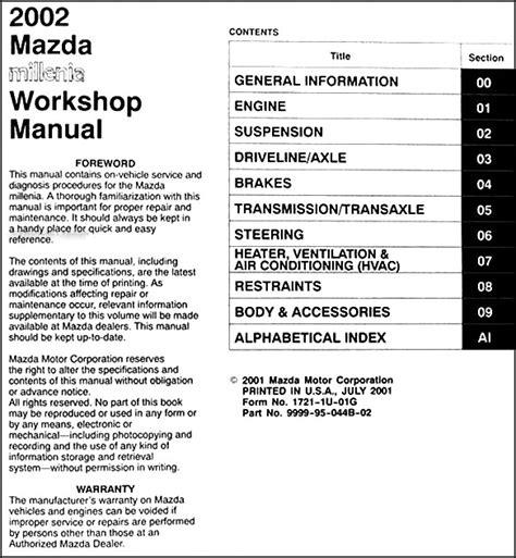 where to buy car manuals 2002 mazda b series navigation system 2002 mazda millenia repair shop manual original