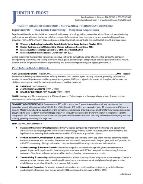 resume organized by function board of directors resume exle for corporate or nonprofit