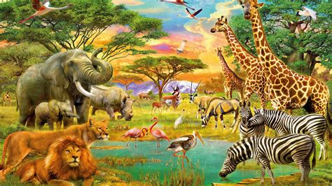 african animals jungle lion zebra giraffe elephants