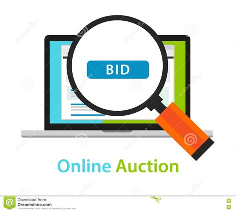 bid websites bidding auction laptop bid button concept icon
