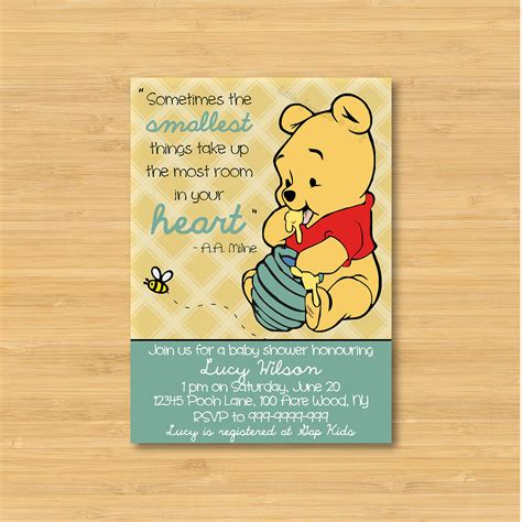 Winnie The Pooh 1st Birthday Invitation Wording
