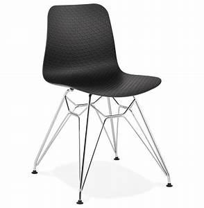 Chaise Pied Chromé : chaise design gaudy noire avec pied en m tal chrom ~ Teatrodelosmanantiales.com Idées de Décoration