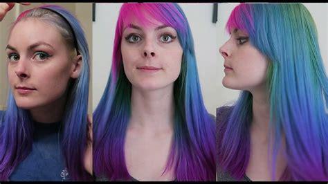 hair dye refresh redying  hair pink blue  green