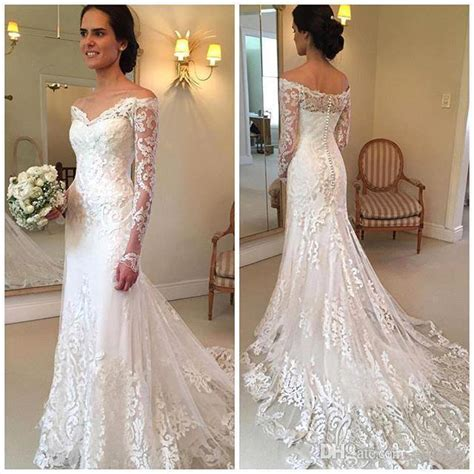 New Arrival Long Sleeves Lace Mermaid Wedding Dresses 2017 Fishtail Off Shoulder Train Wedding