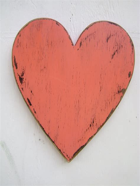 shabby chic wooden hearts shabby chic rustic wooden heart painted coral blush and