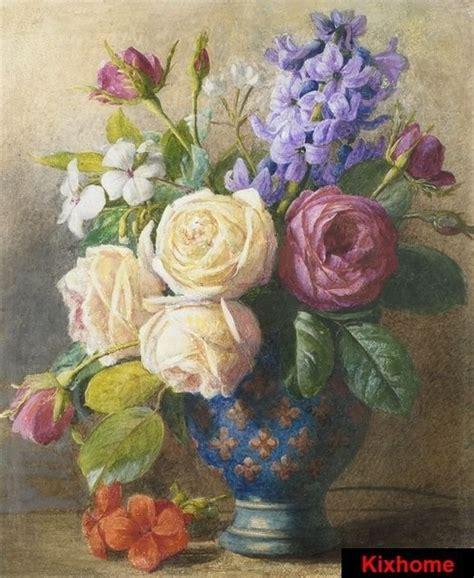 dipinti di fiori a olio natura morta di fiori in un vaso di rame dipinto a mano