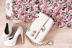 dress flower roses shoes white bag chanel clothing women ...