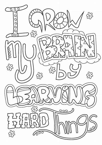 Colouring Mindset Growth Pages Quotes Classroom
