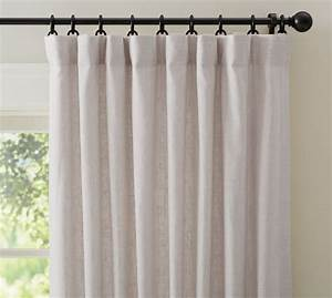 emery linen drape in oatmeal hang with back loop bronze With loop curtains