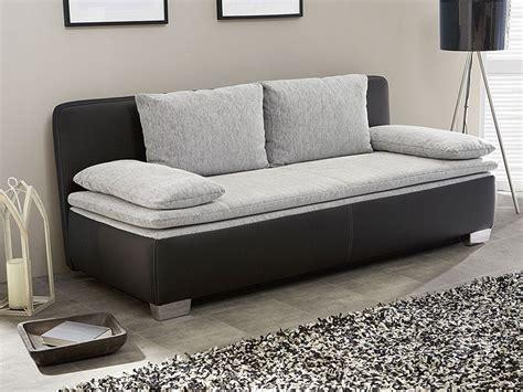 Schlafsofa, Couch Duana 202x96cm, Hellgrau Schwarz