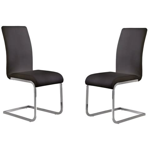 armen living amanda faux leather dining chair in black
