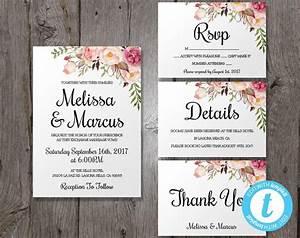 wedding invitation template set floral boho wedding With free printable boho wedding invitations