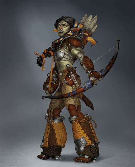 badass female orc warrior archer