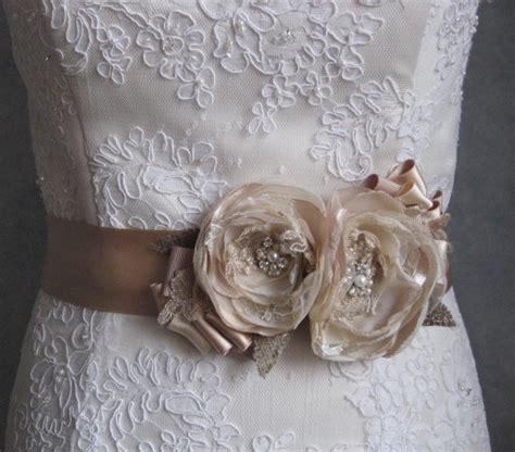 Vintage Burlap Rustic Weddings Bridal Sash Beige Taupe Tan