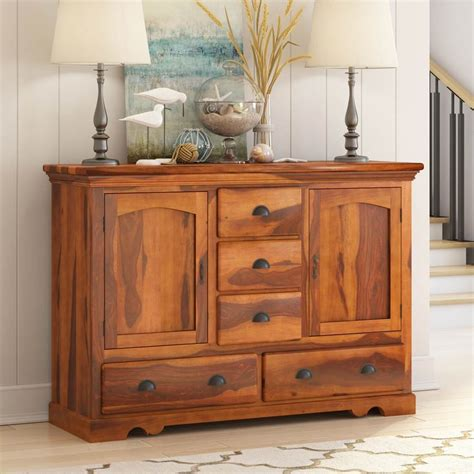 Dining Room Sideboard by Rustic Solid Wood 5 Drawer Traditional Dining Room Buffet