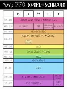 Teacher Schedule Template Editable Rainbow Weekly Schedule Templates Use For