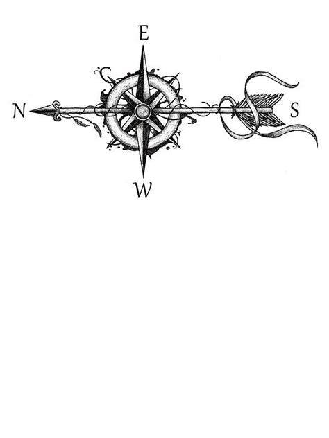Compass with arrow by Beatrizxe | Tattoos | Pinterest