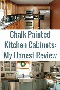 chalk painted kitchen cabinets 2 years later chalk With best brand of paint for kitchen cabinets with dark metal wall art