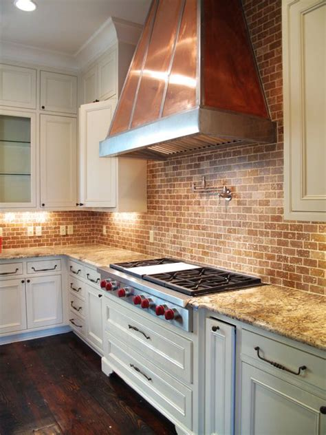 brick kitchen backsplash brick backsplash and copper would look great with