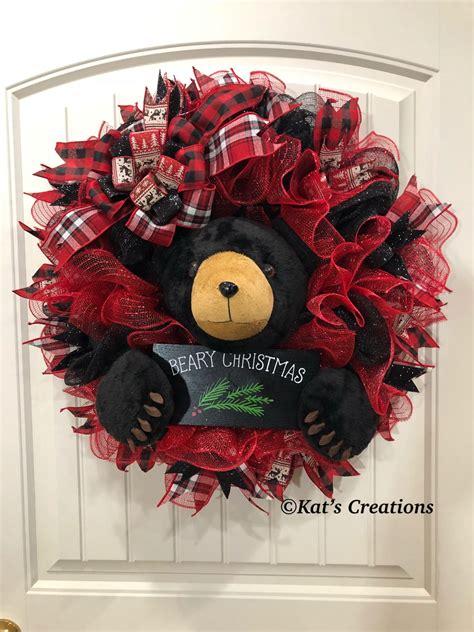 black bear christmas wreath beary christmas decor kats