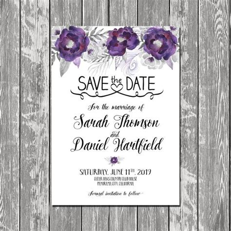 Purple and Silver flowers Save the Date Printable Purple and