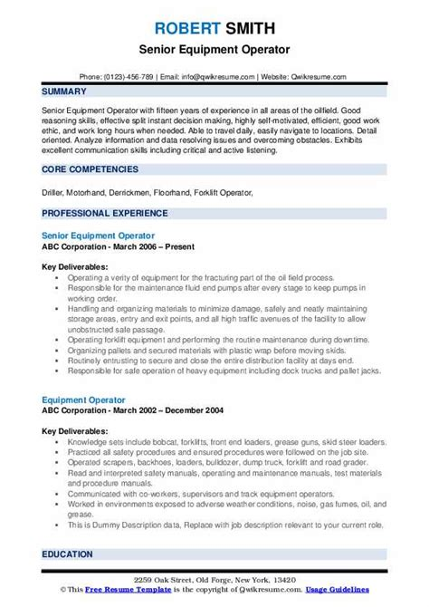 Operator Resume by Equipment Operator Resume Sles Qwikresume