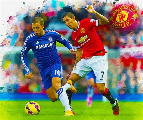 Eden hazard chelsea fc original handmade spray painting. Angel di Maria of Manchester United in action with Eden ...