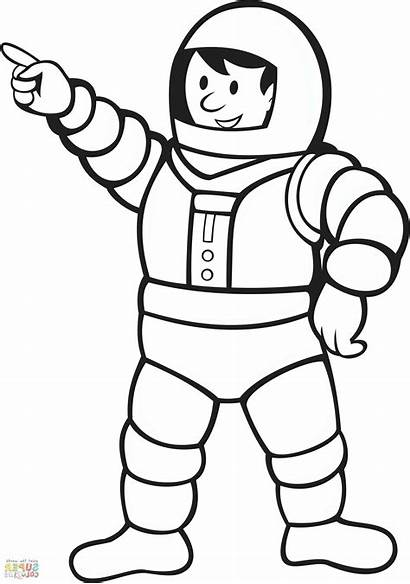 Astronaut Coloring Pages Helmet Space Spaceman Drawing